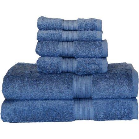 Majestic Egyptian Cotton Bath Towel Set (Egyptian Majestic Oversized Heavy Weight Egyptian Cotton 6piece Towel Set (serenity blue))