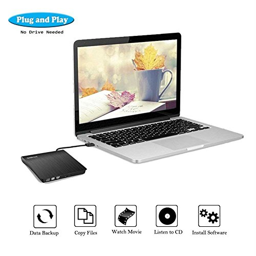 External CD Drive, Amicool USB 3.0 Portable CD DVD +/-RW Drive Slim DVD/CD Rom Rewriter Burner Writer, High Speed Data Transfer for Macbook Pro Laptop/Desktops Win 7/8.1/10 and Linux OS by Amicool (Image #3)