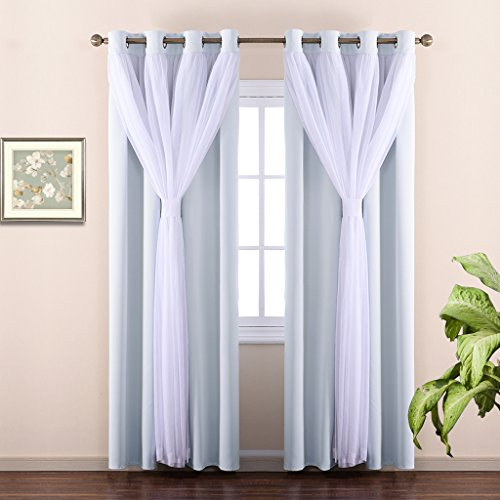 NICETOWN Double Layers Mix & Match Elegance White Crinkled Voile and Blackout Room Darkening Curtains/Drapes with 4 Bonus Tie-Backs, Suiting 17