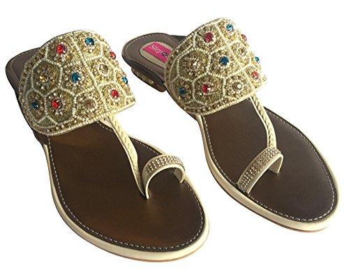 Schritt N Style Strass flach Party Stiletto Pumpe bestickt indischen Khusa jooti mojari