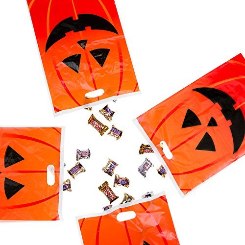 Super Z Outlet Jack-O-Lantern Orange Pumpkin Face Halloween Trick or Treat Plastic Candy Bags for Party Favors, Snacks, Decoration, Children Arts & Crafts, Event Supplies (50 Bags)]()