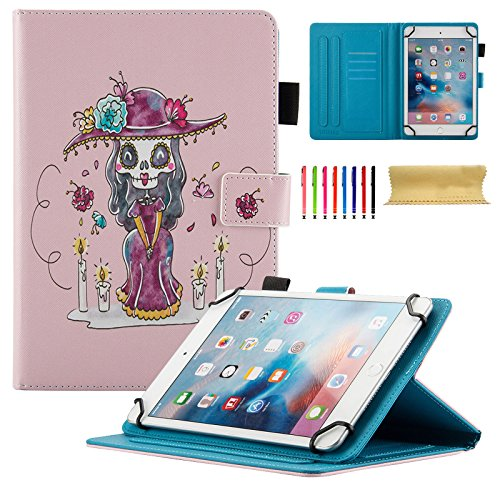 Case for 6.5-7.5 inch Tablet, Cookk PU Leather Folio Protective Cover with Multi-Angle Stand [Anti-Slip] Magnetic Closure Card Slot Wallet Case for 6.5-7.5