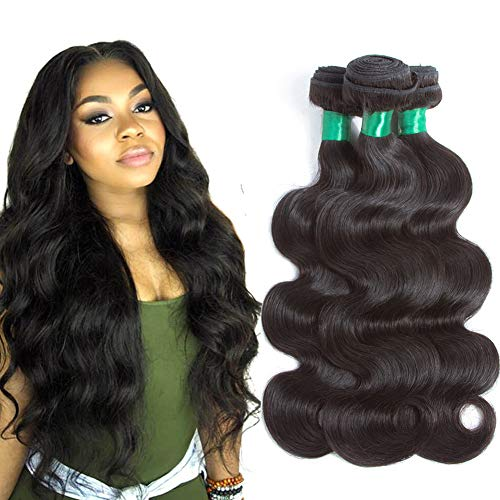 Pecwu Hair 10A Brazilian Virgin Hair Body Wave 3 Bundles 100% Unprocessed Brazilian Human Hair Weave Weft Natural Color Brazilian Remy Human Hair Extensions Weaving (14