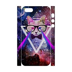 Galaxy Hipster Cat DIY 3D Cover Case for Iphone 5,5S,personalized phone case ygtg551820