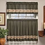Embroidered Mini-Plaid Pair of Tiers - Perfect Plaid Tier Curtains for Kitchen, Bathroom, and Bedroom - Small Check Plaid with Acorn Embroidery (60'' W x 36'' L Pair of Tiers, Green)