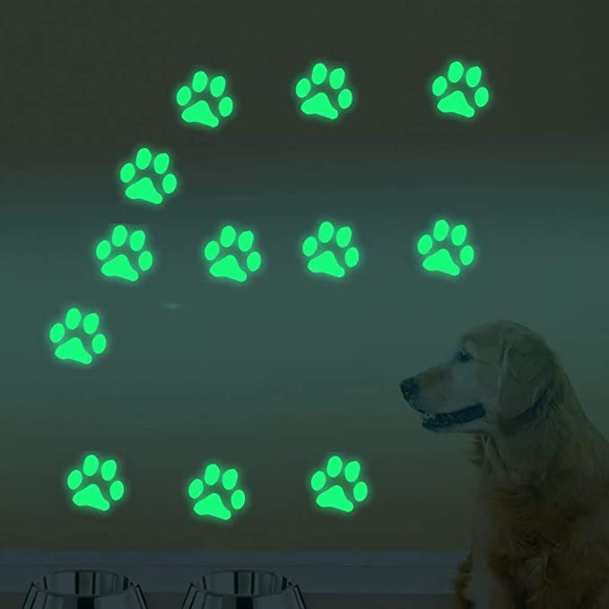 Glow in The Dark Dog Cat Paw Print Stickers Decals Luminous Wall Stickers Birthday Christmas Gifts for Baby Boys Girls Kids Bedroom