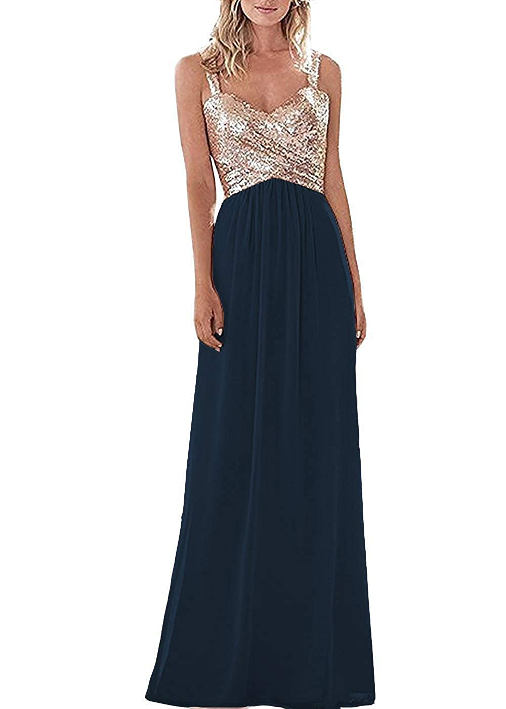 Navy bluee C LL Bridal Top Sequins pink gold Bridesmaid Dress Long Prom Party Dresses Evening