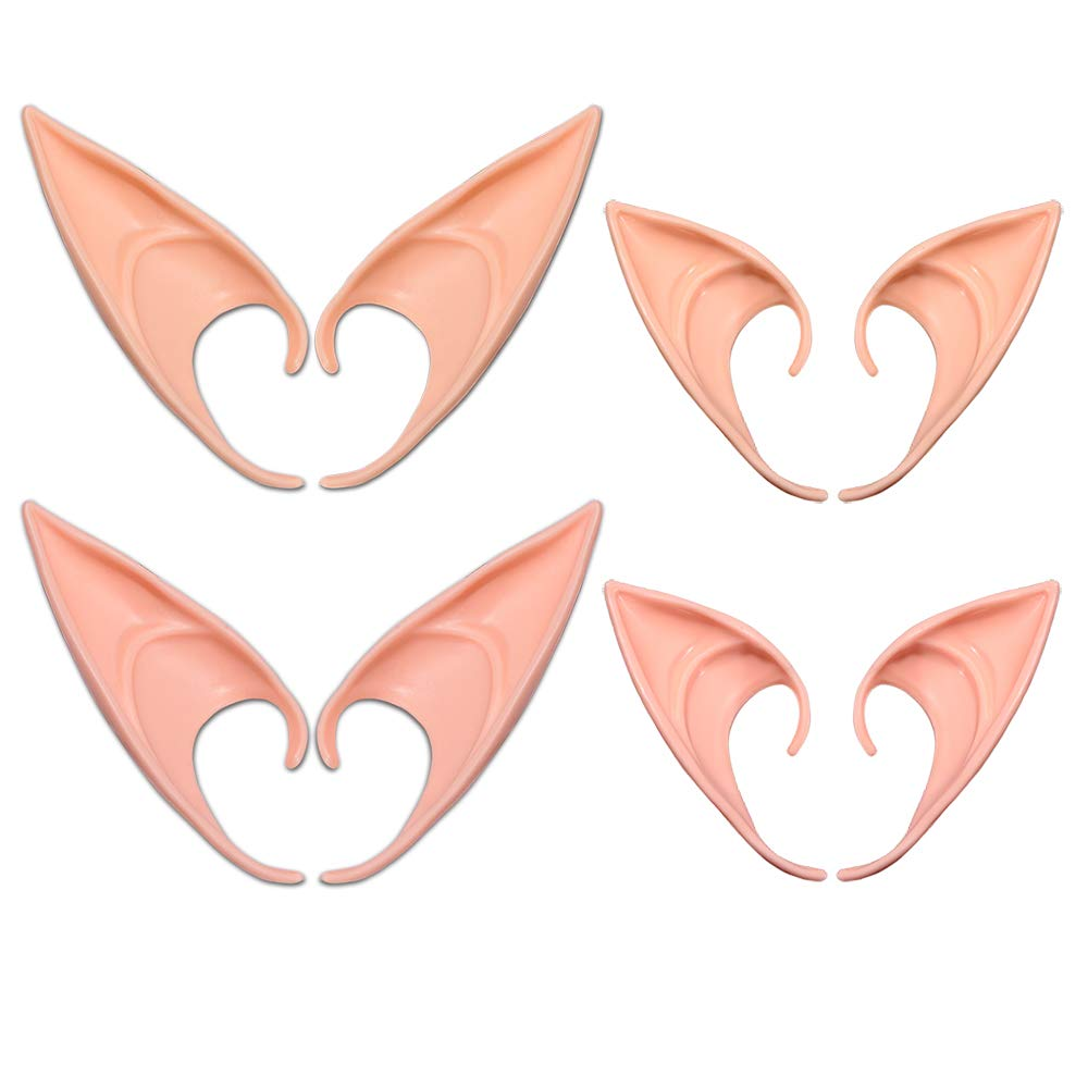 AniSqui Elf Ears Tip, 4 Pairs Latex Pixie Ears Adult, 12cm & 10cm Prosthetic Ears, Pointy Ears Adult, Cosplay Accessories for Halloween Party Cosplay Accessories …