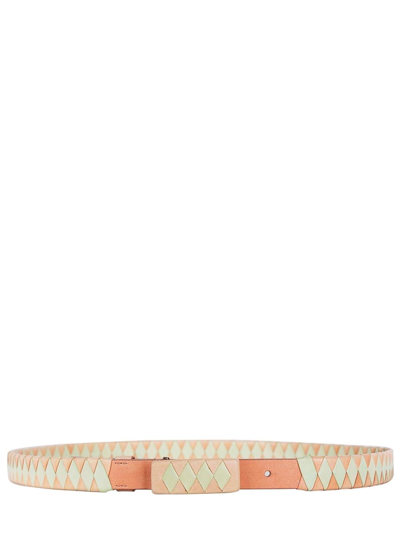 Roberto Cavalli Coral Mint Green Woven Skinny Leather Belt IT70//US XS~RTL $595