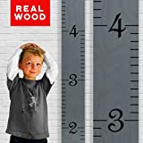Growth Chart Art | Wooden Ruler Growth Chart for Kids [Boys AND Girls] - Kids Room Décor Height Chart in 7x Fun Colors - Durable, Portable and Beautiful Measurement Wall Hanging - Gray