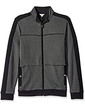 Calvin Klein Men's Full Zip Fabric Blocked Sweater