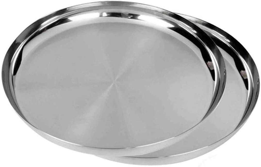 IndiaBigShop Stainless Steel Round Plates Dish Set for Dinner Plate Camping Outdoor Plate BPA Free, Steel Dinner Plates, Camping Outdoor Plate, Plate, Indian Dinner Plates Pack of 2 (12 inch)