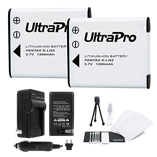 D-LI92 Battery 2-Pack Bundle with Rapid Travel Charger and UltraPro Accessory Kit for Select Pentax Cameras Including Optio I-10, WG-1, WG-2, WG-3, WG-10 and Others