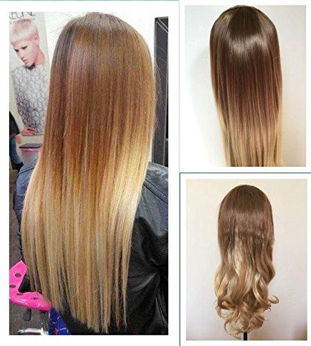 Señoras 3/4 peluca Fall clip en extensiones de pelo pieza Ombre Dip Dye