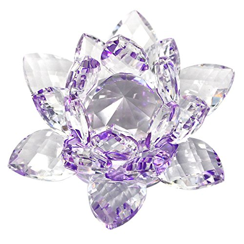 KisSealed Purple Crystal Lotus Flower Feng Shui Home Decor With Box,4 Inch (Purple)