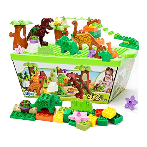 Duplo Dinosaurs - ZaH 40pcs Building Blocks Plastic Kids Toys Jurassic Dinosaur Figure Toy Learning Educational Pretend Playset Dinosaur World Park for Boys Girls