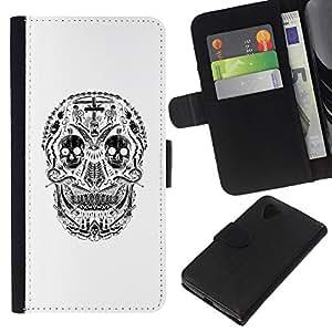 KLONGSHOP // Tirón de la caja Cartera de cuero con ranuras para tarjetas - Blanco Cráneo Sonrisa espeluznante muerte Negro - LG Nexus 5 D820 D821 //