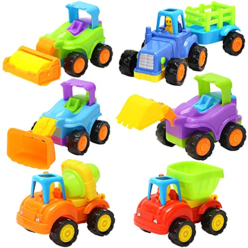 3 otters 6PCS Engineering Vehicle Toys, Mini Construction Vehicles Push and Go Car Friction Powered Car for Boys Girls