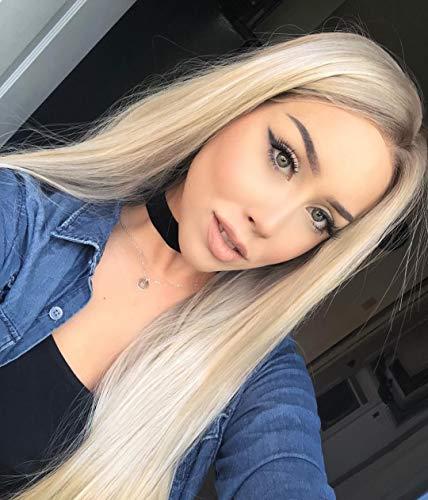 Pelucas de encaje frontal rubio Ombre peluca para mujer, raiz marron recta sedosa, fibra resistente al calor, 22 pulgadas