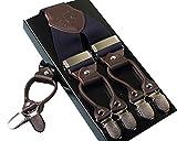 Panegy Herren Y-Form 6 Clips 3.5cm Breit Hosenträger mit Lederriemen Elastisch Längenverstellbar - Navy