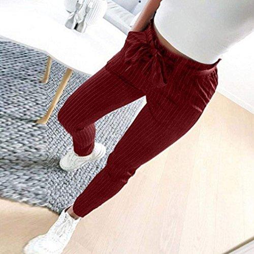Pantaloni Matita Ragazze A Due Damigella Fit Eleganti Pantalone Waist Tempo Stripe Moda Tasche Libero Giovane Slim Rossi Dei Pants Lunghe High Tendenza Estivi xXfCqSg