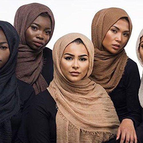 Misright Women Islam Maxi Crinkle Cloud Hijab Scarf Shawl Muslim Long Shawl Stole Wrap (Deep Coffee)
