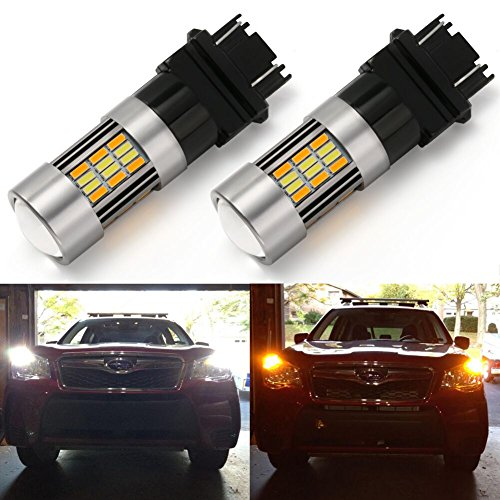 ENDPAGE 3157 3155 3457 4157 White/Amber Switchback LED Bulb, 2-pack, Super Bright, 62-SMD with Projector Lens, Xenon White for Daytime Running Light/Parking Light, Yellow for Turn Signal Blinkers