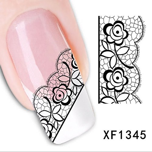 Transfer Art Water 3D Decoration Black Flower Decals Tips Nail Stickers Style XF1345 (Stencil Dabber)