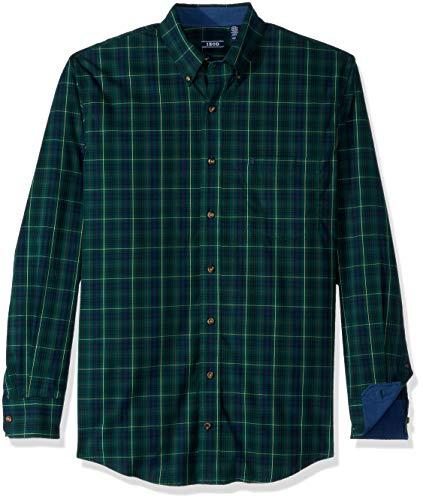 IZOD Mens Big and Tall Tartan Plaid Non Iron Long Sleeve Shirt