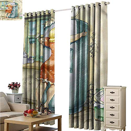 Custom Curtains Funny Plump Woman Hugs The Fridge Room Darkening, Noise Reducing W108x72L