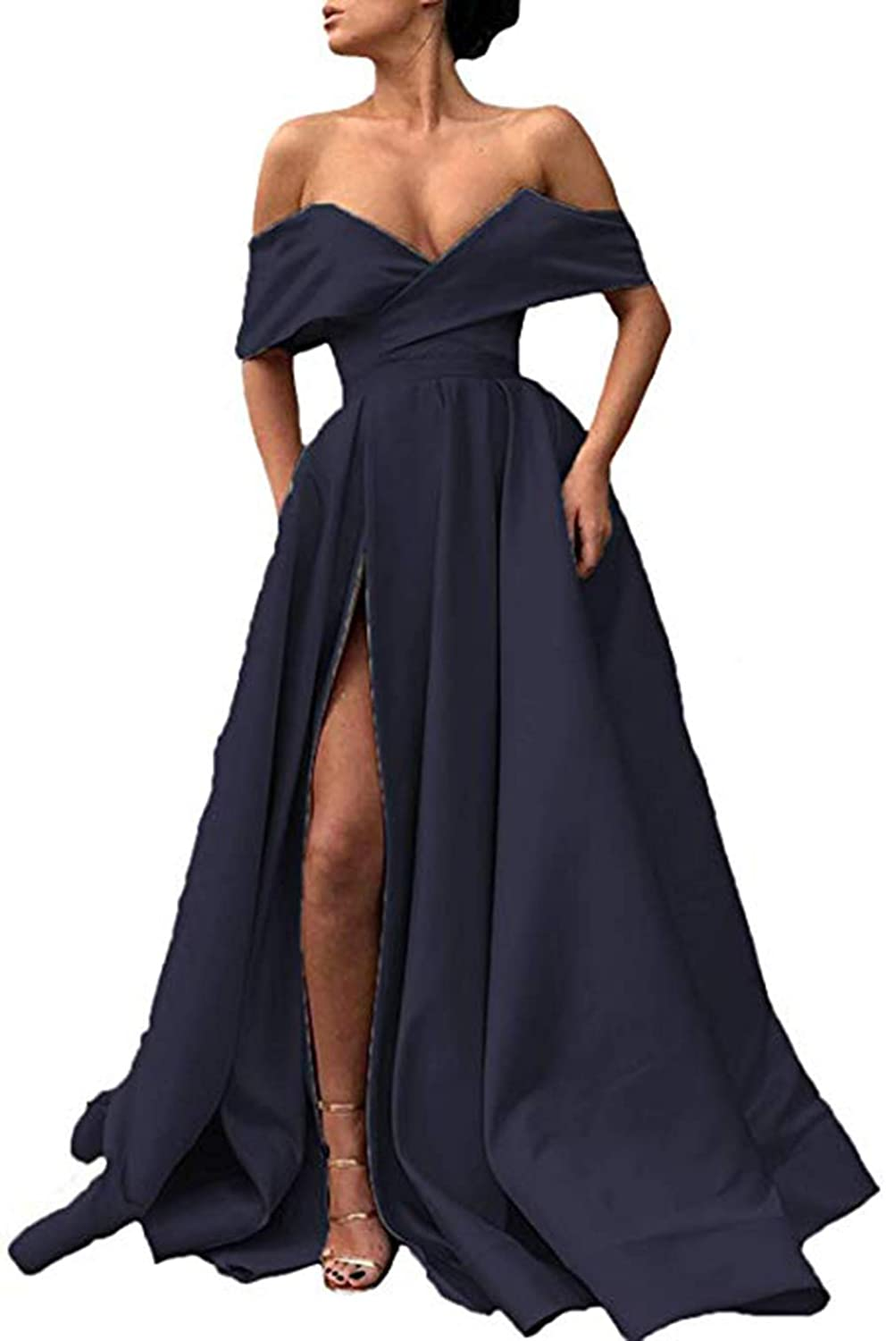 Navy Ri Yun Womens Off The Shoulder Prom Dresses Long Split 2019 ALine Satin Formal Evening Ball Gowns with Pockets