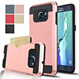 Samsung Galaxy S6 Edge+ /Plus Case, AnoKe[Card Slots Holder][Not Wallet] Hard Silicone Rubber Hybrid Armor Shockproof Protective For Samsung Galaxy S6 Edge Plus G928 KLS Rose Gold