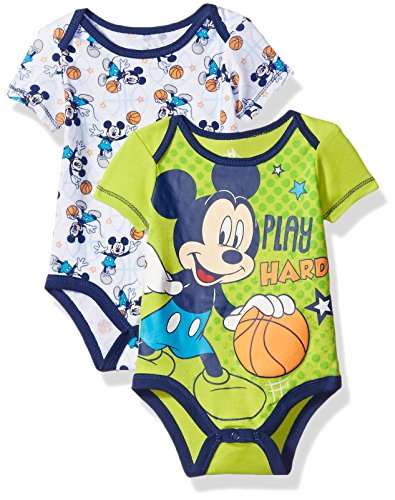[Disney Baby Boys' Mickey Mouse Adorable Soft Two-Pack Bodysuits, Play Hard Lime, 6-9 Months] (Mickey Dress)