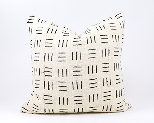 ECE Authentic African Mud Cloth Pillow // Black w/ White Tribal Pattern