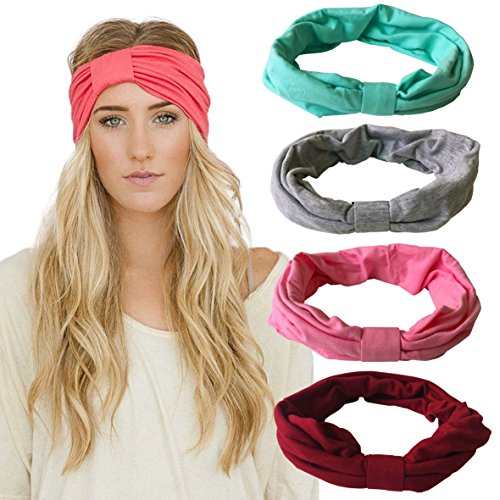 立即购买! DRESHOW 4 Pack Headbands Vintage Elastic Printed Head Wrap Stretchy Moisture Hairband