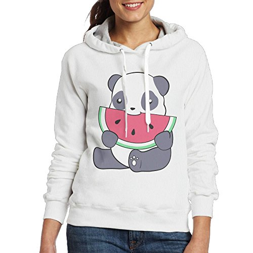 Grhoodie1 Panda and A Watermelon Women's Soft Long Sleeve Pullover Hooded Sweatshirt White Size M