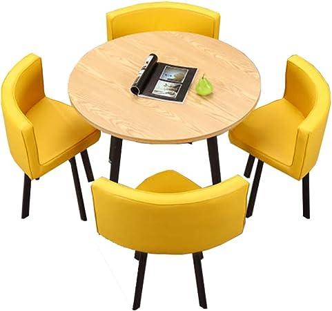 NeoMcc Juegos de Mesa Habitación La negociación de Mesa con 4 sillas Establece Mesa Redonda Tabla de la recepción Mesa de la Sala de Estar Ocio Comedor para Oficina Cocina: Amazon.es: Hogar
