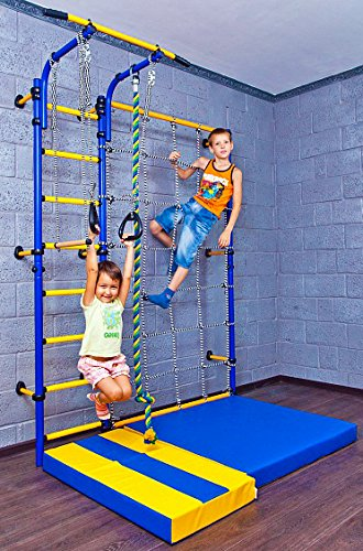 Kids Playground with Climbing Cargo Net / Indoor Wall Gym Training Sport Set with Trapeze Bar Swing, Climber, Climbing Rope, Jump Rope / Suit for Backyard, School and Playroom / Comet Next 3 (Green)