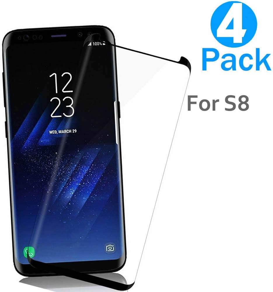 AaBbDd [4 Pack] 9H Glass Protector for S8,Tempered Glass Screen Protector for Samsung Galaxy S8, Full Coverage for The Phone Screen,with 9H Hardness and 99% Transparency