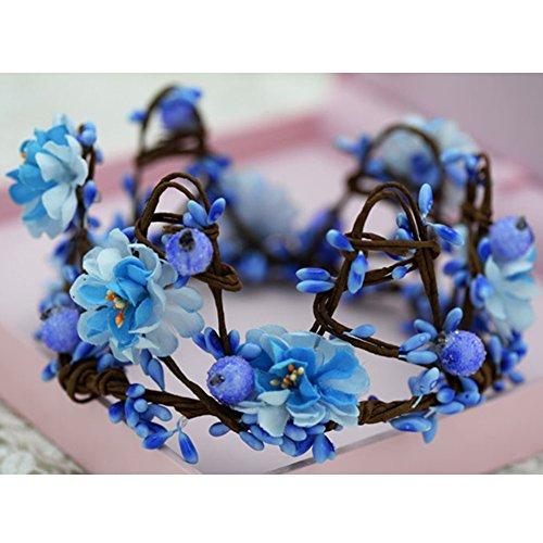 The Bride Adorn Article Female Simulation Wreath Crown Crown Headdress(Blue)