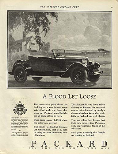 A Flood Let Loose - Packard Roadster Runabout ad 1925 for sale  Delivered anywhere in USA