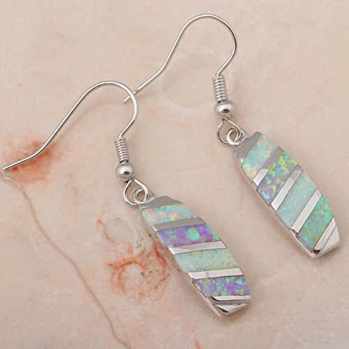 Chokushop Rare style Super supplier New Blue Fire Opal 925 Silver Drop Earrings Fashionl Jewelry OE137