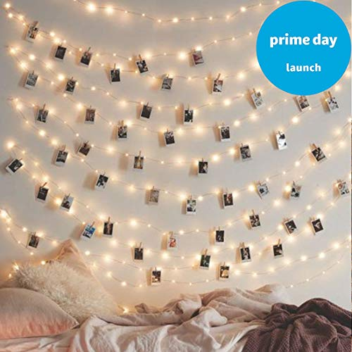LED Photo Clip String Lights Home Decor Indoor/Outdoor, Battery Powered String Lights Lamp for Home/Party/Christmas Decoration Christmas Birthday Wedding Party Festival Decor (Warm White) (30 -