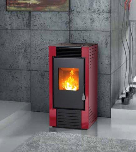 estufa de pellets karmek One lisboa de 8,21 KW de aire ventilada de acero, Rojo: Amazon.es: Hogar