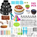 Cake Decorating Supplies,243 PCS Cake Decorating Kit 4 Packs Springform Cake Pans, Cake Rotating Turntable,48 Piping Icing Tips,7 Russian Nozzles, Baking Supplies,Cupcake Decorating Kit