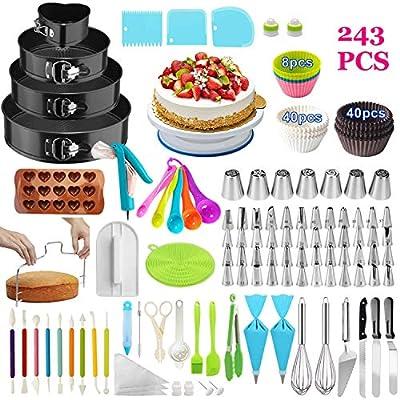 Cake Decorating Supplies,243 PCS Cake Decorating Kit 4 Packs Springform Cake Pans, Cake Rotating Turntable,48 Piping Icing Tips,7 Russian Nozzles, Baking Supplies,Cupcake Decorating Kit