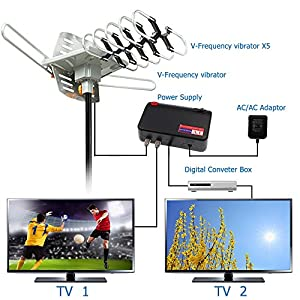 TV Antenna - Outdoor Digital HDTV Antenna 150 Mile Motorized 360 Degree Rotation, OTA Amplified HD TV Antenna for 2 TVs Support - UHF/VHF/4K/1080P Channels Wireless Remote Control - 33FT Coax Cable