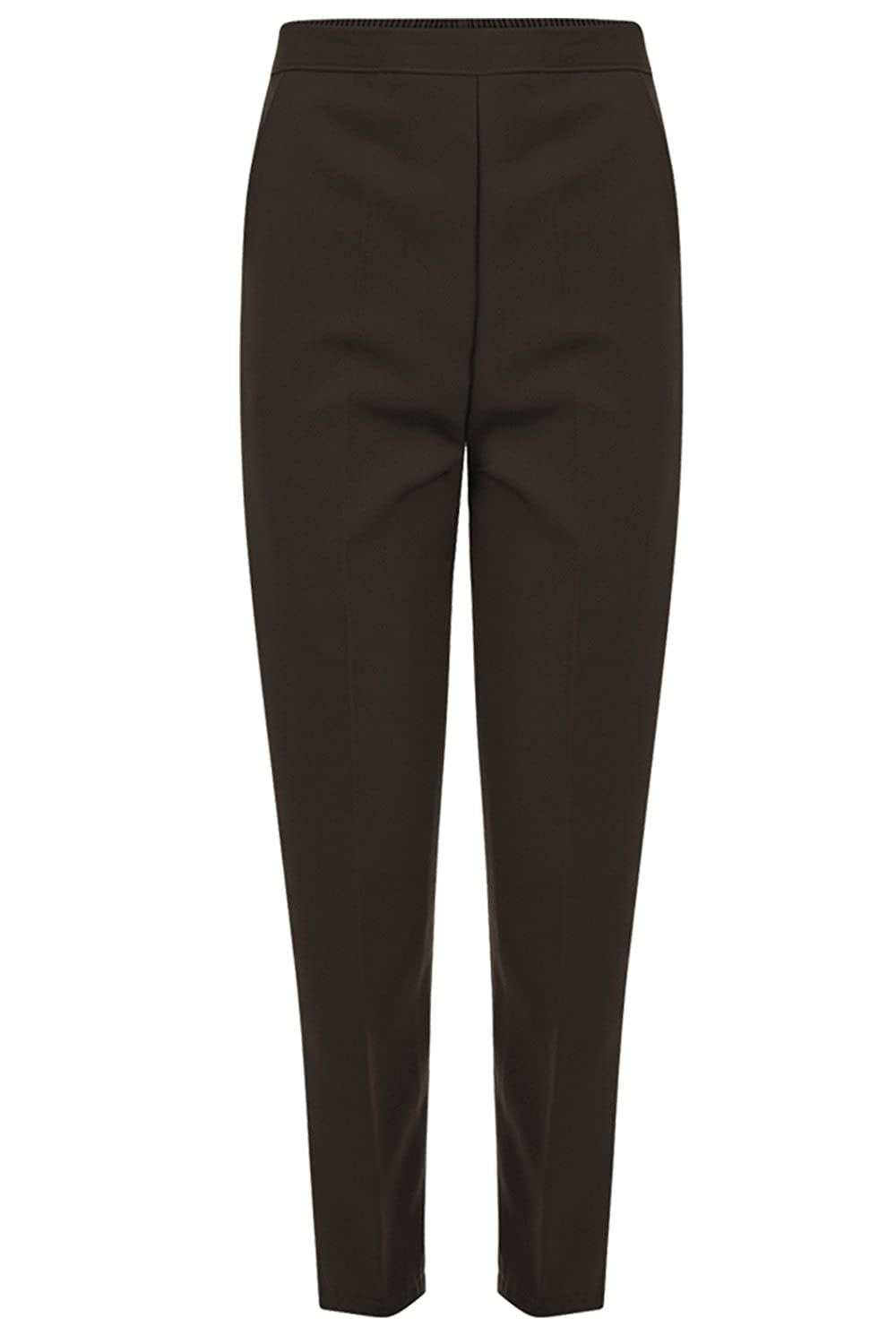 INDX-Clothing Ladies Womens Office Work Trousers Half Elasticated Stretch Half Elasticated Waist Formal Casual Pants with Pockets