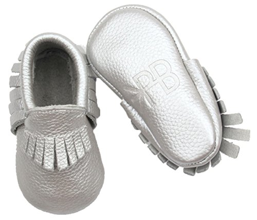 Metallic Led Silver (Posh Baby Shoes: Genuine Leather, Hand Made, Durable, Slip-on Baby Moccasins. A Great Gift for Newborns, Infants, and Toddlers. (18-24 Months (5.3 in), Metallic Silver))