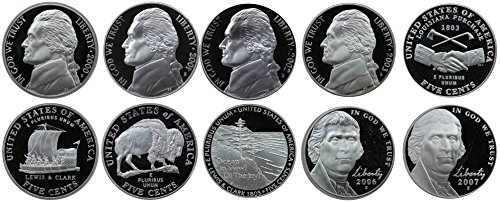 2000-2007 S Jefferson Nickel Gem Proof Run 10 Coins US Mint Decade Lot Complete 2000's Set